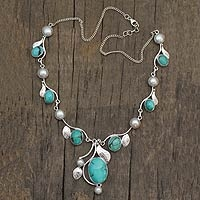 Turquoise and cultured pearl Y-necklace - Most fave products