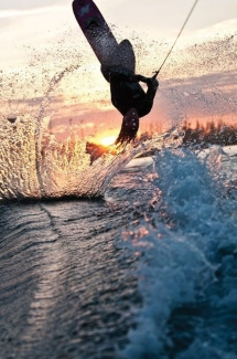 Wakeboard into the sunset [photo] - Wakeboarding is awesome