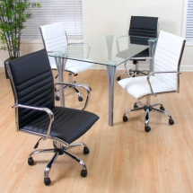 White Channel Back Office Chair - Home Office