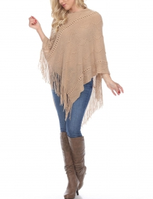 White Mark Women's Fernanda Whip-Stitched Fringe Poncho - Comfy Clothes