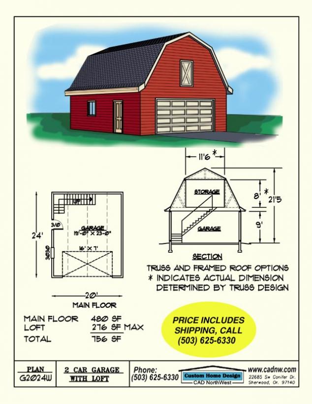 2 Car Barn Style Gambrel Roof Garage With Loft