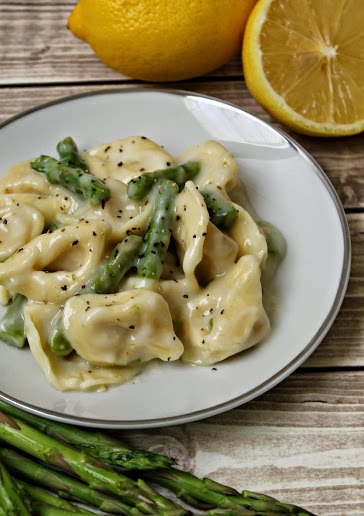 3 Cheese Tortellini & Asparagus with Creamy Lemon Sauce
