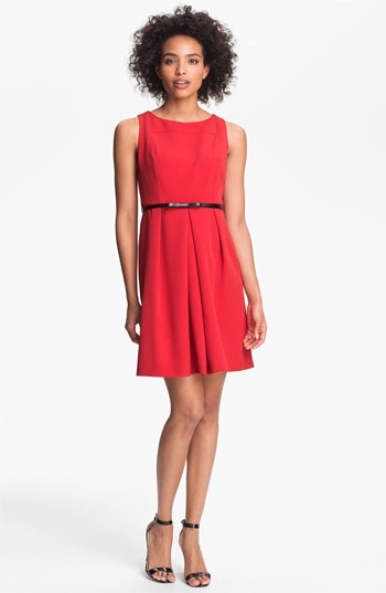 Adrianna Papell Seamed A-Line Dress in red - FaveThing.com