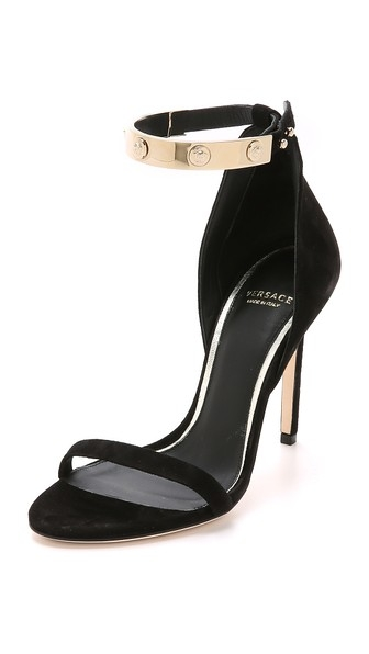 Ankle Strap Suede Sandals by Versace
