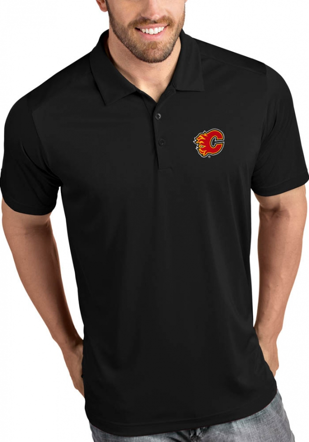 Antigua Calgary Flames Mens Black Tribute Short Sleeve Polo