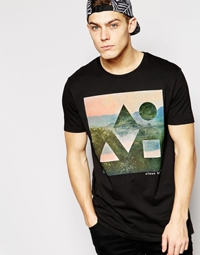 ASOS Longline T-Shirt with Clean Bandit Print and Skater Fit
