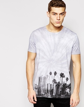 ASOS T-shirt with Tie Dye Hem Print and Skater Fit