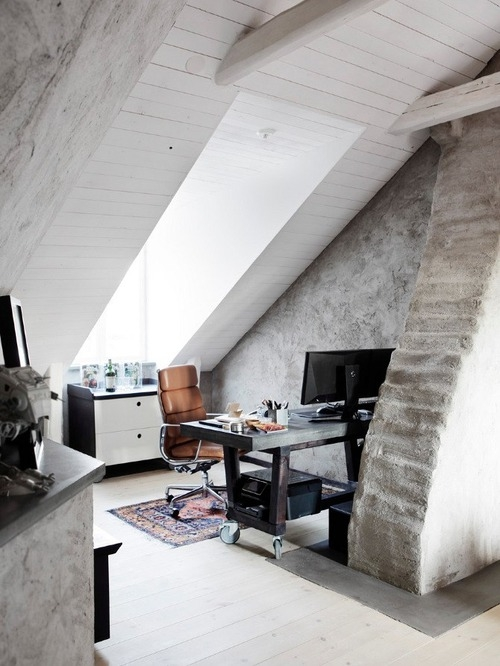 Attic Office Space With Large Skylight