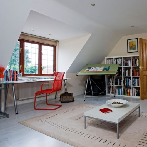 Attic office with red framed windows