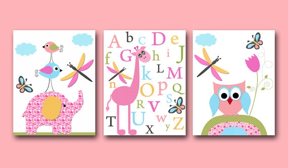 Childrens wall art best baby decoration - Wall decor girl nursery ...