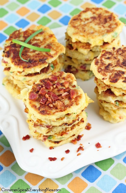 Bacon Cheddar Cauliflower Fritters - FaveThing.com