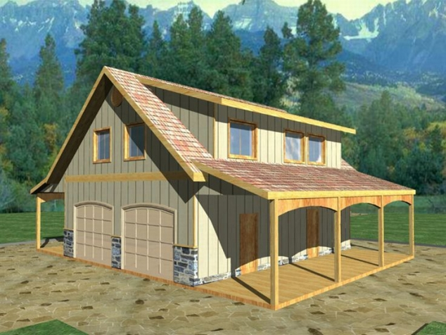Barn inspired 4 car garage with apartment above