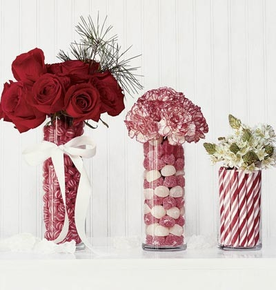 Beautiful Christmas Centerpieces Using Candy And Flowers