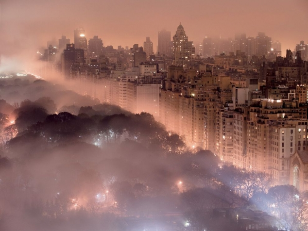 Beautiful New York City skyline glowing in fog