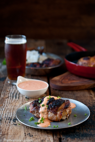 Beer Brined Paprika Chicken with Roasted Red Pepper Cream Sauce
