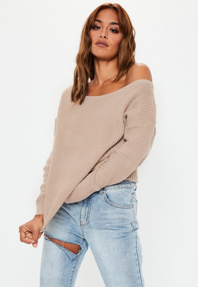 Beige Off Shoulder Knitted Sweater
