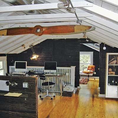 Black and white attic office