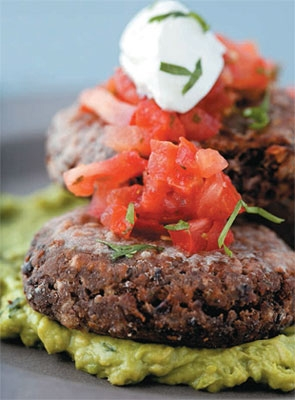 Black bean burgers with salsa & guacamole