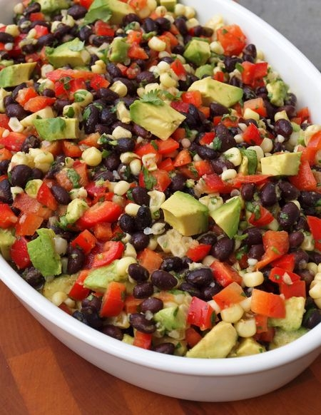 ... Bean Salad with Corn, Red Peppers, Avocado & Lime-Cilantro Vinaigrette