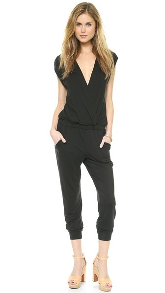 Black Drape Front Jumpsuit from Splendid
