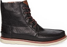 Black Leather Men's Searcher Boots from TOMS