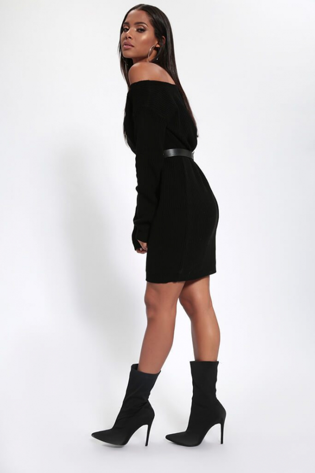 Black Slash Neck Knitted Jumper Dress - Image 2