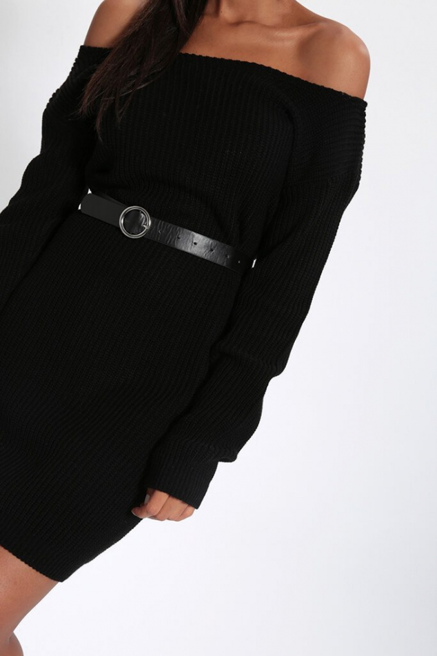 Black Slash Neck Knitted Jumper Dress - Image 3