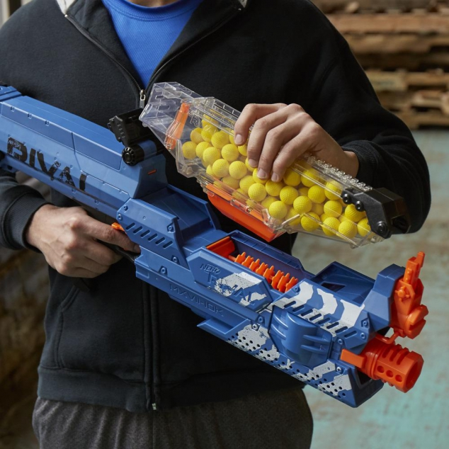 Blow them away with the Nerf Rival Nemesis MXVII-10K blaster