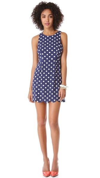 Blue & white polka dot dress - FaveThing.com