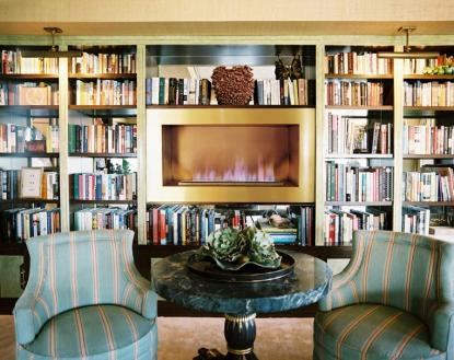 Bookshelves with Fireplace
