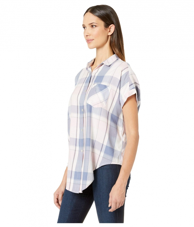 Boxy Dolman Tie Front Shirt High-Low Hem - Image 2