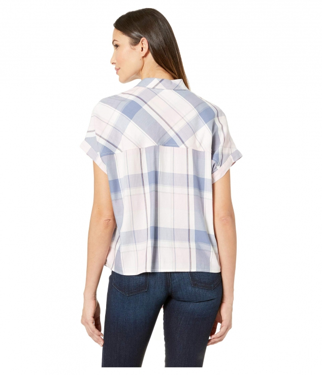 Boxy Dolman Tie Front Shirt High-Low Hem - Image 3