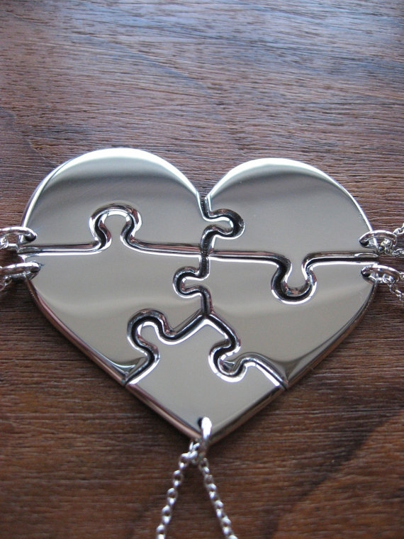 Bridesmaid gift idea - Heart shaped jigsaw puzzle necklaces