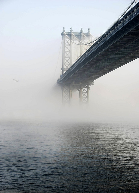 Brooklyn Bridge in the fog