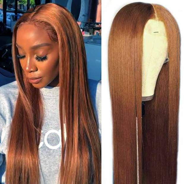 Brown Wig Lace Front Wigs Straight/Deep Wave Brazilian Human Hair-AshimaryHair.com - Image 2
