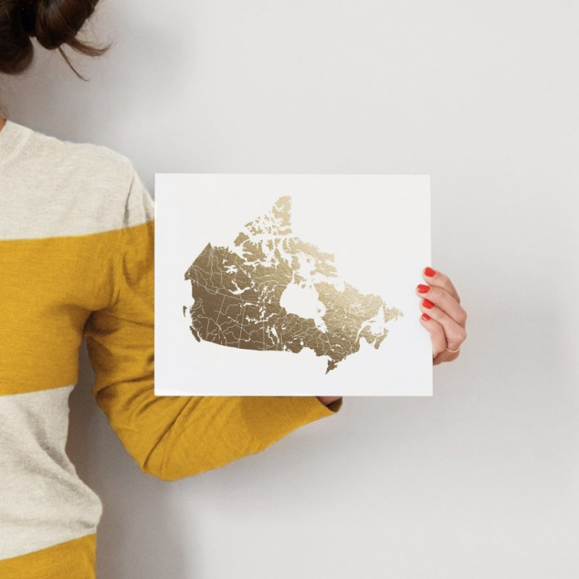 Canada Map Foil Stamped Wall Art - Image 3