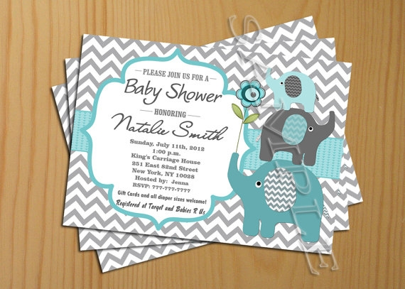 Chevron Baby Shower Invitation Boy Teal