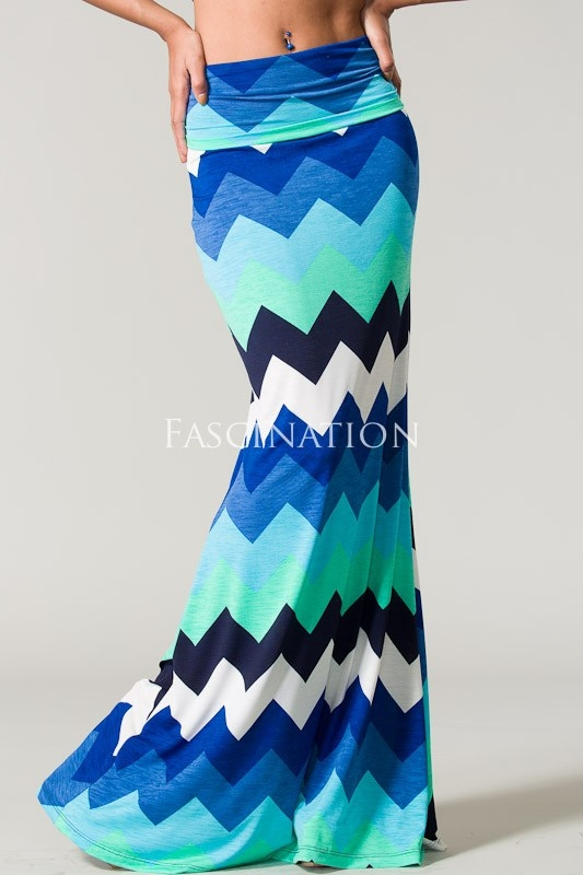 Chevron blue maxi skirt