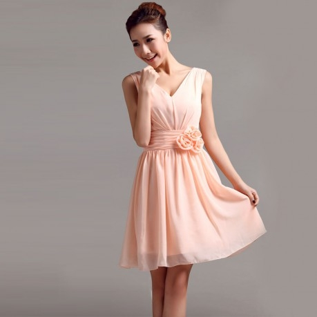 Chiffon bridesmaid dress with V neck with flower