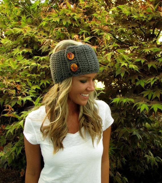 Knitting Pattern Headband With Button : Chunky button headband - FaveThing.com
