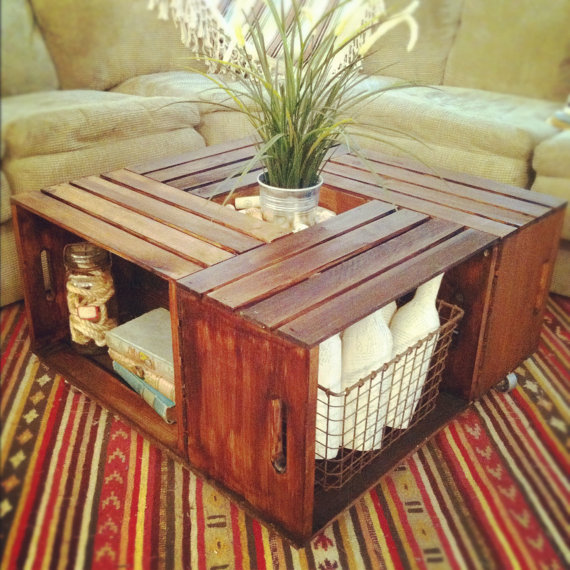 Coffee table made from crates FaveThingcom