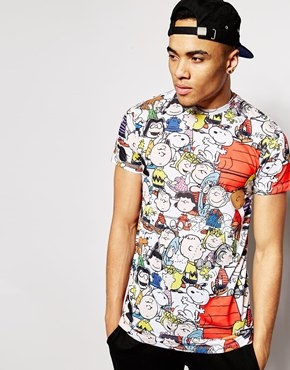 Criminal Damage X Peanuts Longline T-Shirt With Characters Print