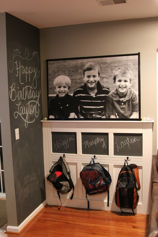 Cute backpack wall organization