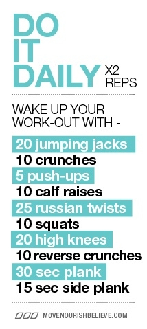 daily wake up workout  favething