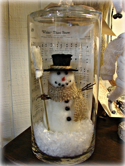 Christmas Decorating Ideas For Glass Jars : Diy snowman in a jar with christmas sheet music