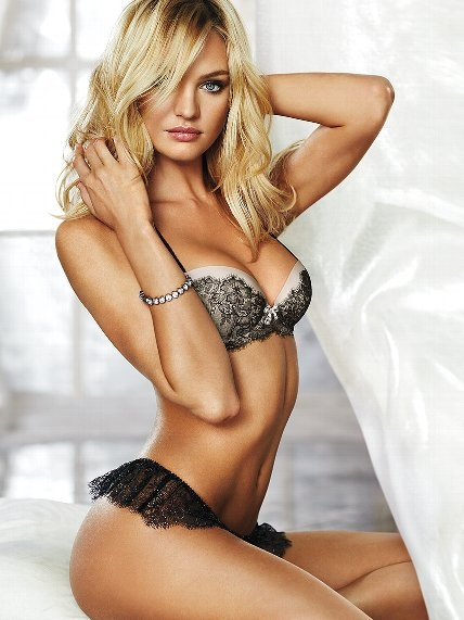 Dream Angels Demi Bra and Chantilly Lace Thong shown by Candice Swanepoel