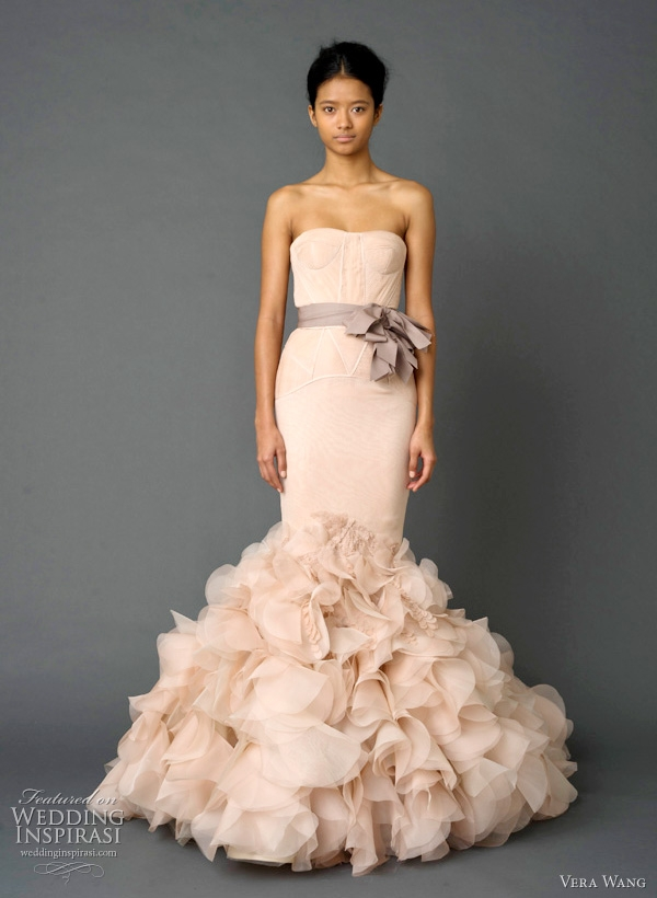 dusty rose wedding dress by vera wang