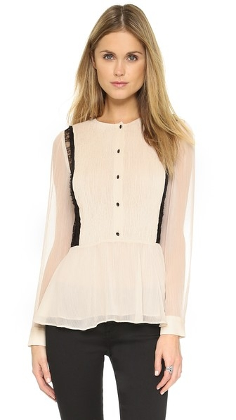 Elysia Pintuck Blouse by alice + olivia