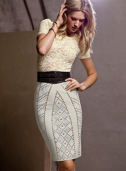 Embellished Pencil Skirt and Stretch Lace Top