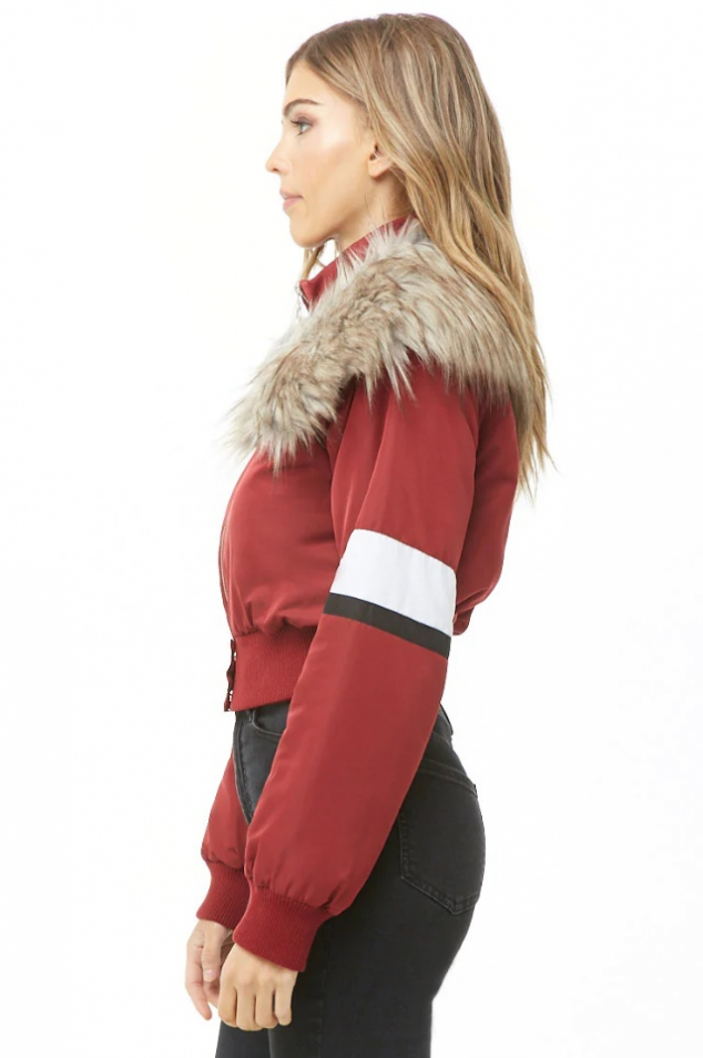 Faux Fur-Trim Padded Jacket - Image 2